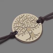 Pulsera árbol de la vida LOVETREE en oro amarillo 750 milésimas y cordón de la colección de joyas infantiles MIKADO.