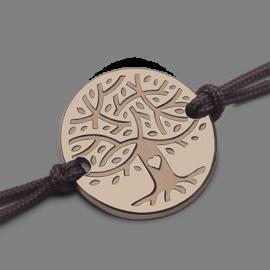 Bracelet arbre de vie LOVETREE en or rose 750 millièmes et cordon de la collection de bijoux pour enfants MIKADO.
