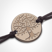 Pulsera LOVETREE árbol de la vida en oro rosa 750 milésimas y cordón de la colección de joyas infantiles MIKADO.