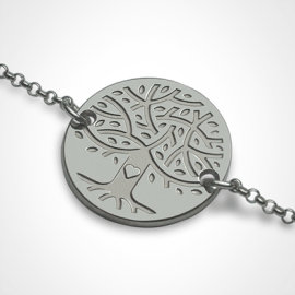 Bracelet arbre de vie LOVETREE en or blanc 750 millièmes et chaîne de la collection de bijoux pour enfants MIKADO.