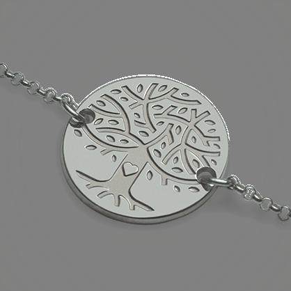 Pulsera árbol de la vida LOVETREE en oro blanco 750 milésimas y cadena de la colección de joyería infantil MIKADO.