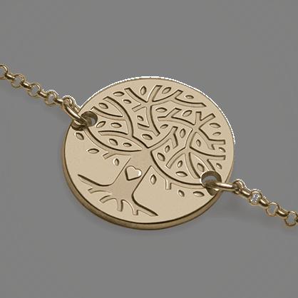Pulsera árbol de la vida LOVETREE en oro amarillo 750 milésimas y cadena de la colección de joyas infantiles MIKADO.