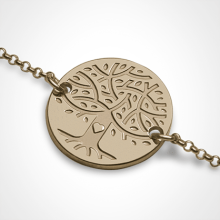 Bracelet arbre de vie LOVETREE en or jaune 750 millièmes et chaîne de la collection de bijoux pour enfants MIKADO.
