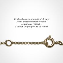 Yellow gold Jaseron chain of the LOVETREE bracelet from MIKADO jewellery for kids.