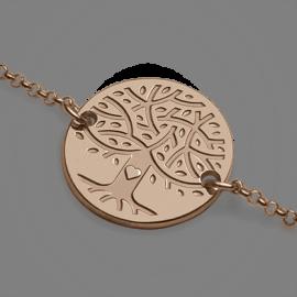 Bracelet arbre de vie LOVETREE en or rose 750 millièmes et chaîne de la collection de bijoux pour enfants MIKADO.