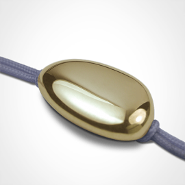 LA DRAGÉE christening bracelet in 750 yellow gold and lavender chord by the jewellery collection for children MIKADO.
