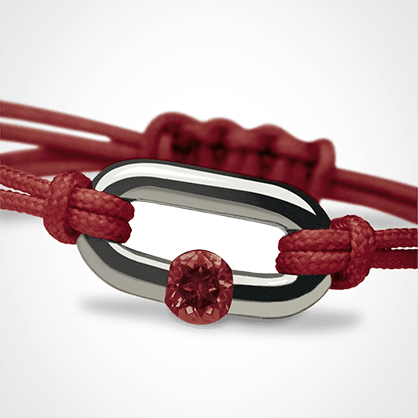 NEWBORN garnet bracelet in 925 silver and cherry cord by the jewellery collection for children MIKADO.
