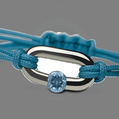 Brazalete NEWBORN topacio azul en plata 925 milésimas de la colección de joyería infantil MIKADO.