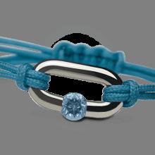 Bracelet NEWBORN topaze bleue en argent 925 millièmes et cordon lagon de la collection de bijoux pour enfants MIKADO.