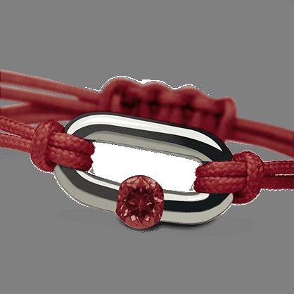 Bracelet NEWBORN grenat en or blanc 750 millièmes rhodié et cordon cerise de la collection de bijoux pour enfants MIKADO.