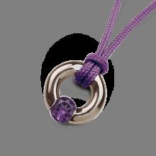 Pendentif NEWBORN améthyste en argent 925 millièmes et cordon violette de la collection de bijoux pour enfants MIKADO.