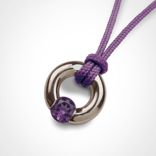 NEWBORN amethyst pendant in 750 white gold by the jewellery collection for children MIKADO.