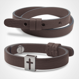 Pack HALLELUJAH bracelet in 925 sterling silver and chocolate leather from the MIKADO children's jewellery collection.