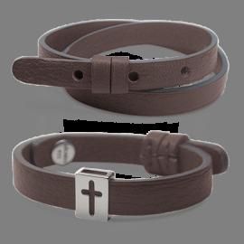 Pack bracelet HALLELUJAH en argent 925 millièmes et cuir chocolat de la collection de bijoux pour enfants MIKADO.