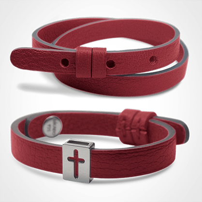 Pack HALLELUJAH bracelet in white gold and cherry leather from the MIKADO children's jewellery collection.