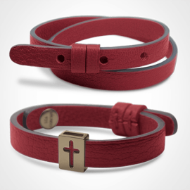 HALLELUJAH bracelet pack in 750 thousandths yellow gold and cherry leather from the MIKADO children's jewellery collection.