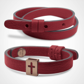 HALLELUJAH bracelet pack in 750 pink gold and cherry leather from the MIKADO children's jewellery collection.