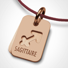 Médaille de baptême ASTRO SAGITTAIRE en or rose 750 millièmes de la collection de bijoux pour enfants MIKADO.