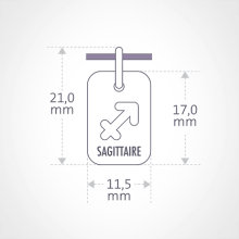 Dimensions du pendentif ASTRO SAGITTAIRE de la collection de bijoux pour enfants MIKADO.