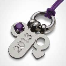 POGO BOY AMETHYYST pendant in 750 white gold by the jewellery collection for children MIKADO.