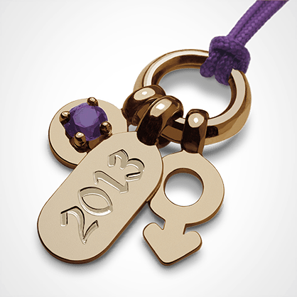 POGO BOY AMETHYST pendant in 750 yellow gold by the jewellery collection for children MIKADO.