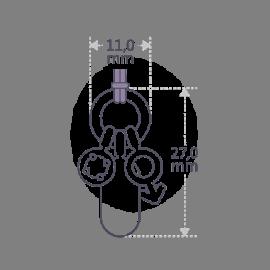 Dimensiones del colgante POGO de la colección de joyería infantil MIKADO.