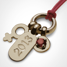 POGO GIRL GARNET pendant in 750 yellow gold by the jewellery collection for children MIKADO.