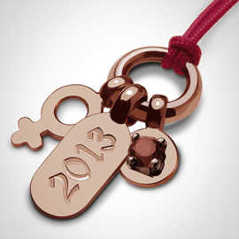 POGO GIRL GARNET pendant in 750 pink gold by the jewellery collection for children MIKADO.