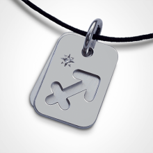 Medalla de bautismo ASTRO STAR SAGITARIO en plata 925 milésimas y diamante de la colección de joyas para niños MIKADO.