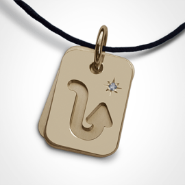 ASTRO STAR SCORPIO christening zodiac pendant in 750 yellow gold and diamond by the jewellery collection for children MIKADO.
