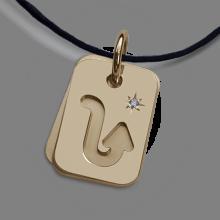 Médaille de baptême ASTRO STAR SCORPION en or jaune 750 millièmes de la collection de bijoux pour enfants MIKADO.