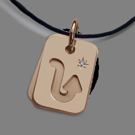 Médaille de baptême ASTRO STAR SCORPION en or rose 750 millièmes de la collection de bijoux pour enfants MIKADO.