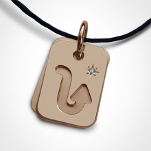 ASTRO STAR SCORPIO christening zodiac pendant in 750 pink gold and diamond by the jewellery collection for children MIKADO.