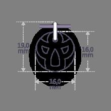 Dimensiones de la medalla de bautismo ANGIE de la colección de joyas infantiles MIKADO.