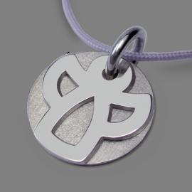Médaille de baptême ANGIE en or blanc 750 millièmes rhodié et cordon lavande de la collection de bijoux pour enfants MIKADO.