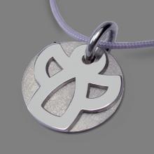 Medalla de bautismo ANGIE en oro blanco 750 milésimas rodiadas y cordón de lavanda de la colección de joyería infantil MIKADO.