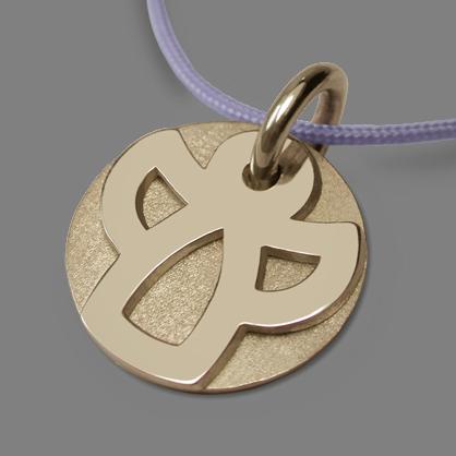 Médaille de baptême ANGIE en or jaune 750 millièmes rhodié et cordon lavande de la collection de bijoux pour enfants MIKADO.