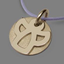 Medalla de bautismo ANGIE en oro amarillo 750 milésimas rodiadas y cordón de lavanda de la colección de joyería infantil MIKADO.