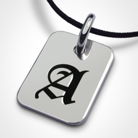 Letter A TATTOO pendant made of 925 sterling silver and black cord by the children's jewellery collection MIKADO.