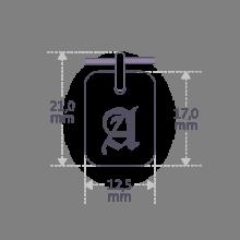 Dimensiones del colgante TATTOO de la colección de joyas infantiles de MIKADO.