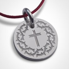Médaille croix SANTA CRUZ en argent 925 millièmes et cordon de la collection de bijoux pour enfants MIKADO.