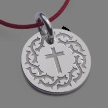 Médaille croix SANTA CRUZ en or blanc 750 millièmes et cordon de la collection de bijoux pour enfants MIKADO.