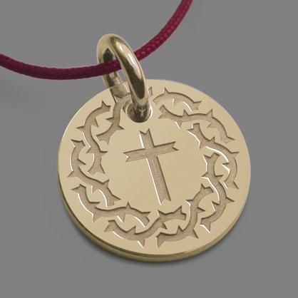 Médaille croix SANTA CRUZ en or jaune 750 millièmes et cordon de la collection de bijoux pour enfants MIKADO.
