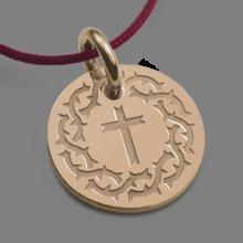Médaille croix SANTA CRUZ en or rose 750 millièmes et cordon de la collection de bijoux pour enfants MIKADO.