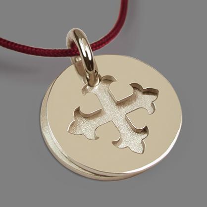 Médaille de baptême ROYAL en or jaune 750 millièmes rhodié et cordon cerise de la collection de bijoux pour enfants MIKADO.