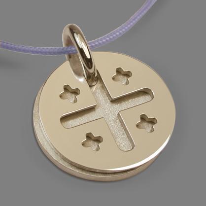 Médaille de baptême JERUSALEM en or jaune 750 millièmes de la collection de bijoux pour enfants MIKADO.